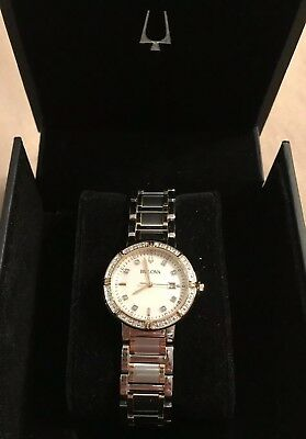 24 DIAMOND New Bulova MOP 98R260 Gold & Silver-Tone Womens Watch