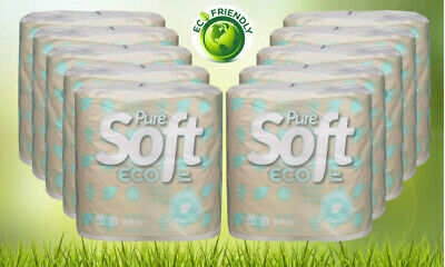 80 Puresoft Eco Toilet Tissue Rolls - Recycled Paper & Bio-degradable packaging