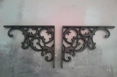 Pair Cast Iron Shelf Brackets Vintage Victorian Rustic Antique 8  x 6.5 inches