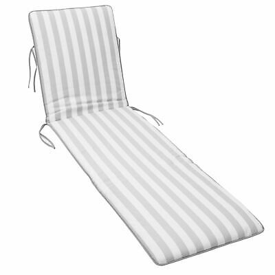 Replacement Cushion Pad for Outdoor Garden Sun Lounger Recliner - Grey Stripe