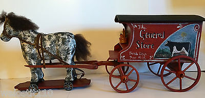 Vintage  Folk Art Horse Pulling Country Store Wagon. Hand Made In Usa! Beautiful