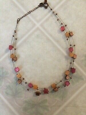 Lia Sophia Peach Pink and Bronze Square Beads Bronze Tone Triple Wire Strand