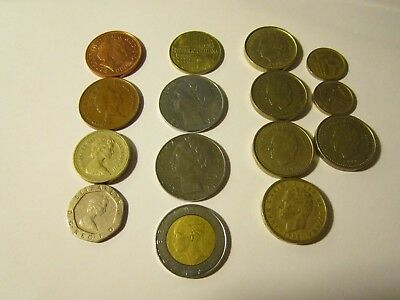 Lot of 15 Foreign Coins - Circulated UK-Italy-Spain / 1957-2000