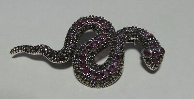 New Sterling Silver Ruby & Marcasite Snake Pin /  Badge / Brooch / Pendant