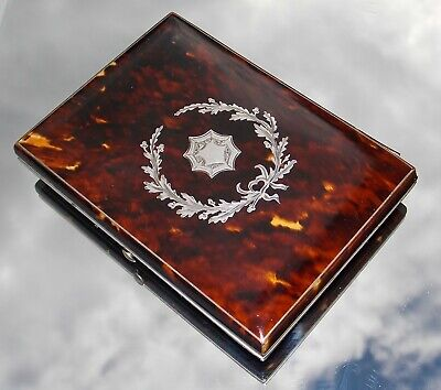 Beautiful Victorian Solid Silver Inlaid Faux Blonde Tortoiseshell Card Case