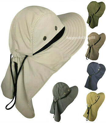 b5d88abfb8b44 Men Women Boonie Hat With Neck Flap Fishing Hiking Outdoor UV Protection  Sun Hat
