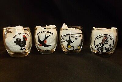 Set Vintage Humorous SHOT GLASSES Hand Painted Novelty MID CENTURY Retro Bulbous