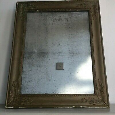 19C Antique French Gold Mirror Original Heavily Foxed Patina Glass 52x43cm m171