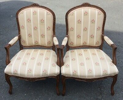 PAIR Vintage 20th C UPHOLSTERED French DESIGNER ARMCHAIRS Bergere CLUB CHAIR