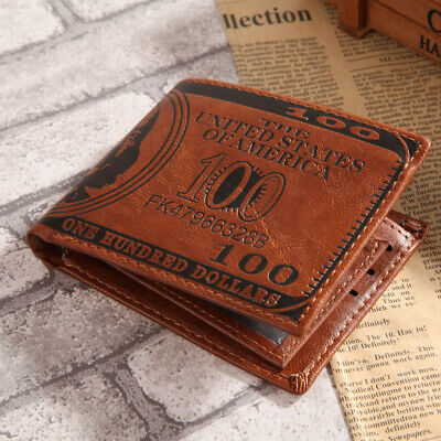 Fashion Mens Genuine faux Leather Bifold Wallet ID Card Holder Slim Coin Durable