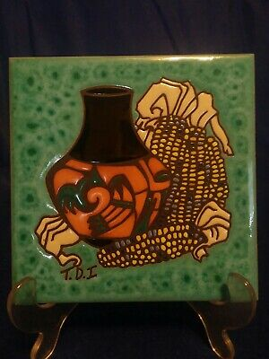 "Cleo Teissedre Ceramic Tile 6"" SQ. Pottery Corn Brown Tan Southwest Theme"