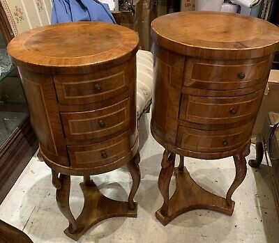PAIR Antique ITALIAN 18th C VENETIAN OLIVE WOOD Carved SWAN Commodes NIGHTSTANDS