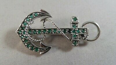Superb Sterling Silver And Emerald Anchor  Pin / Badge / Brooch / Pendant