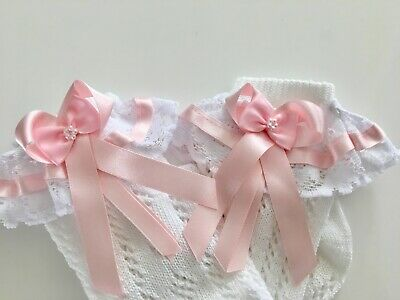 Handmade pink bows & lace knee high girls frilly socks
