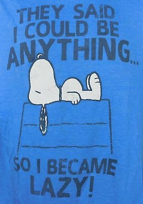 1a14304b Peanuts Snoopy Doghouse SoI Became Lazy Mens Graphic T-shirt Tee L Large  Blue