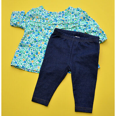 Carters Child of Mine 0-3 Months Outfit Floral Blue Teal Blouse Cute Baby Jeans