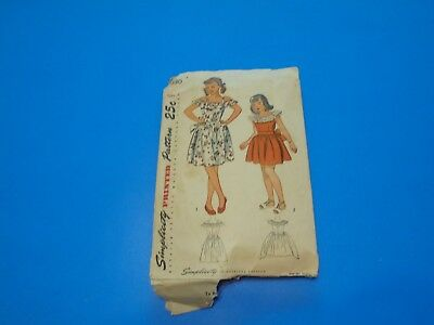 VTG 1940s Sewing Pattern Girls One Piece Dress Size 8 Simplicity 2030