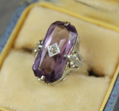 Vintage Art Deco 14K White Gold Amethyst and Diamond Filigree Ring