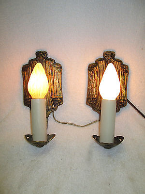 Cast  Brass Electric Wall Sconces Marked Kay Line Co  1929