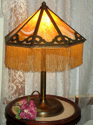 Antique Arts And Craft Mission 8 Panel Electric Slag Glass Panel Lamp