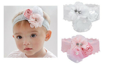 Elegant Baby Girl Stretch Lace White or Pink Bling Flowers Soft Hair Headband