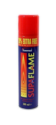 3 X Supaflame 300ml Butane lighter refill gas - gas soldering iron, mini blow
