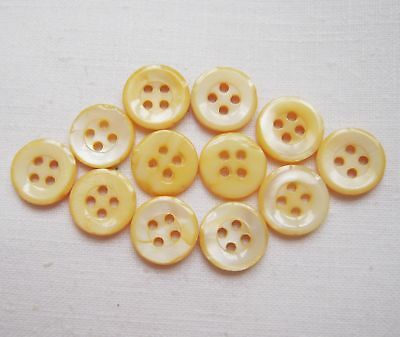 """Vintage Lot of 12 YELLOW Mother of Pearl Shell Buttons 4 holes 7/16"""""""