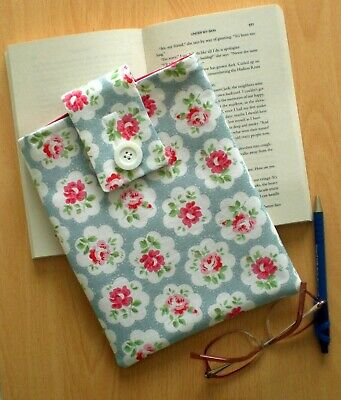 Handmade Book Sleeve / Cover / Protector Cath Kidston Fabric Blue Provence Rose
