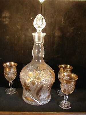 1880's Indiana EAPG Pattern Glass Gold Daisy Button Narcissus Decanter & 3 Wines