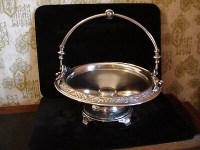 Wilcox Quad Silver Plate Aesthetic Bride's Basket Landscape Morning Glory Border