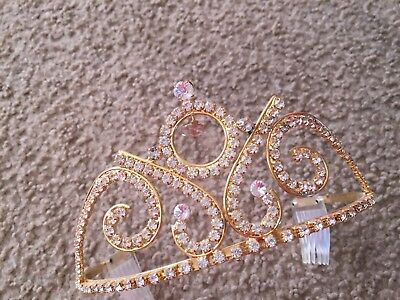Nice gold silver rhinestone tiara crown pageant costume