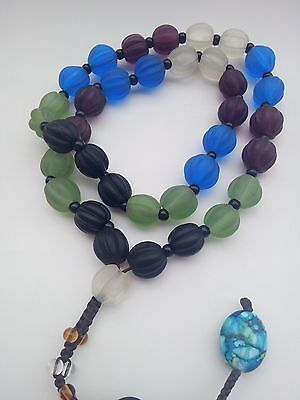 "29""Ancient Chinese Peking Coloured Glaze Carved Bead Necklace"