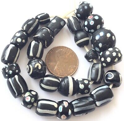 Variety of Black wound Venetian Antique glass African Trade beads