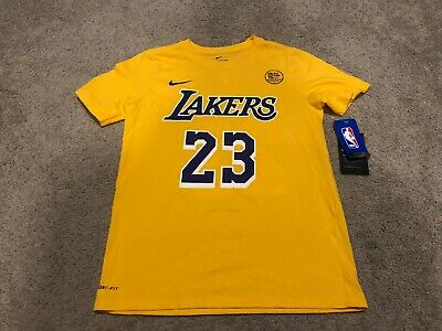 d08dbe5f7 NWT New Youth Nike Dri-FIT NBA Lebron James Los Angeles Lakers T-Shirt