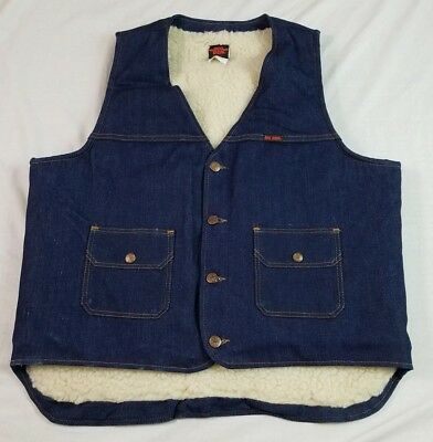 BIG BEN Mens Denim Vest Vintage 1970's USA MADE L Large Shearling Lined Snap