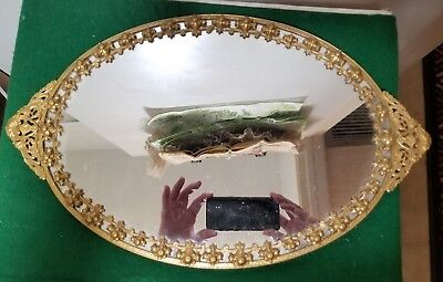 "Antique French Goldtone Ormolu Vanity / Dresser Tray Mirror - 17"" By 10 1/2"""