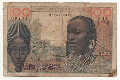 Collection Here French West Africa 100 Francs 1947 P-40 Pretty And Colorful Africa