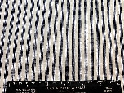 "Blue & White Stripes Vintage Cotton Unused Pillow Ticking Fabric 29"" Wide 30""L"