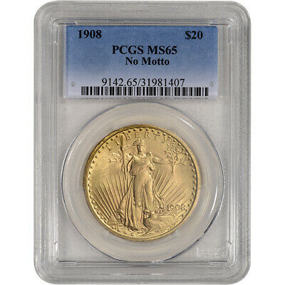 US Gold $20 Saint-Gaudens Double Eagle - PCGS MS65 - 1908 No Motto