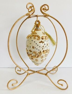 Lenox EASTER EGG 2015 Annual Shell Gold Trim Ornament Pierced Decor w Stand