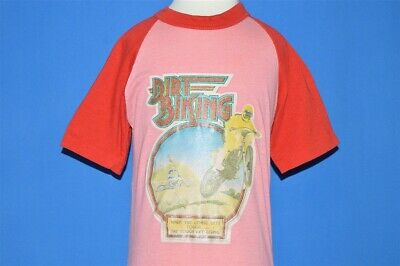 vintage 80s DIRT BIKING GLITTER IRON ON RAGLAN RED t-shirt YOUTH SMALL S