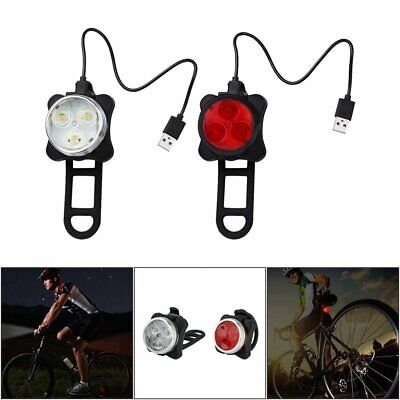 IPX4 Waterproof Bicycle Bike Lights Front Rear Tail Light Lamp Rechargeable JO