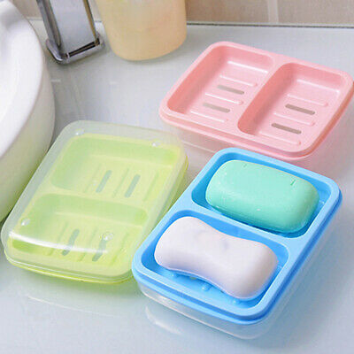 Travel Bathroom Plastic Double Soap Dishes Soap Dish Drain Soapbox With Cover LG