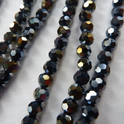 1000pcs AB black glass crystal Round Faceted loose bead 4mm