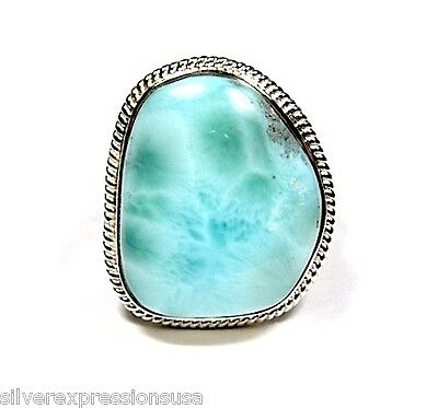 Handcrafted Huge AAA Genuine Dominican Larimar 925 Sterling Silver Ring size 8
