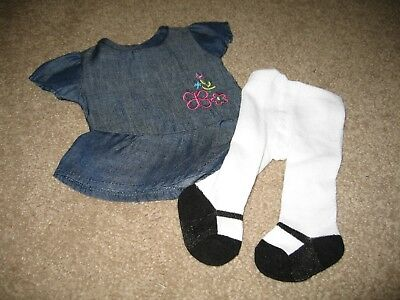 """New Blue Jean Dress + Mary Jane Tights Doll Clothes * Fits 18"""" Or American Girl"""