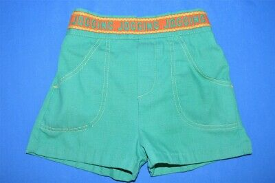 vintage 80s HEALTHTEX GREEN TODDLER RUNNING RUN SHORTS WHITE PIPING SIZE 2T