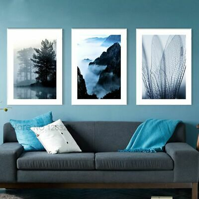 Wall Art Canvas Painting Pictures For Living Room Navy Blue Landscape Decoration