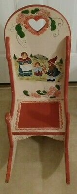 Vintage Antique Victorian Children's/Doll Full Back Wooden Rocking Chair