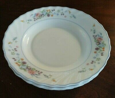 "Arcopal France VICTORIA Set of 4 Lg Rim Soup Bowls 9"" floral scalloped X-Nice!"